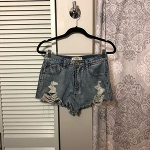 High Waisted Destroyed Hollister Shorts
